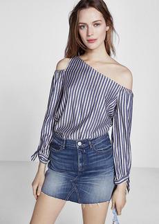 Metallic Stripe Tie Sleeve One Shoulder Blouse