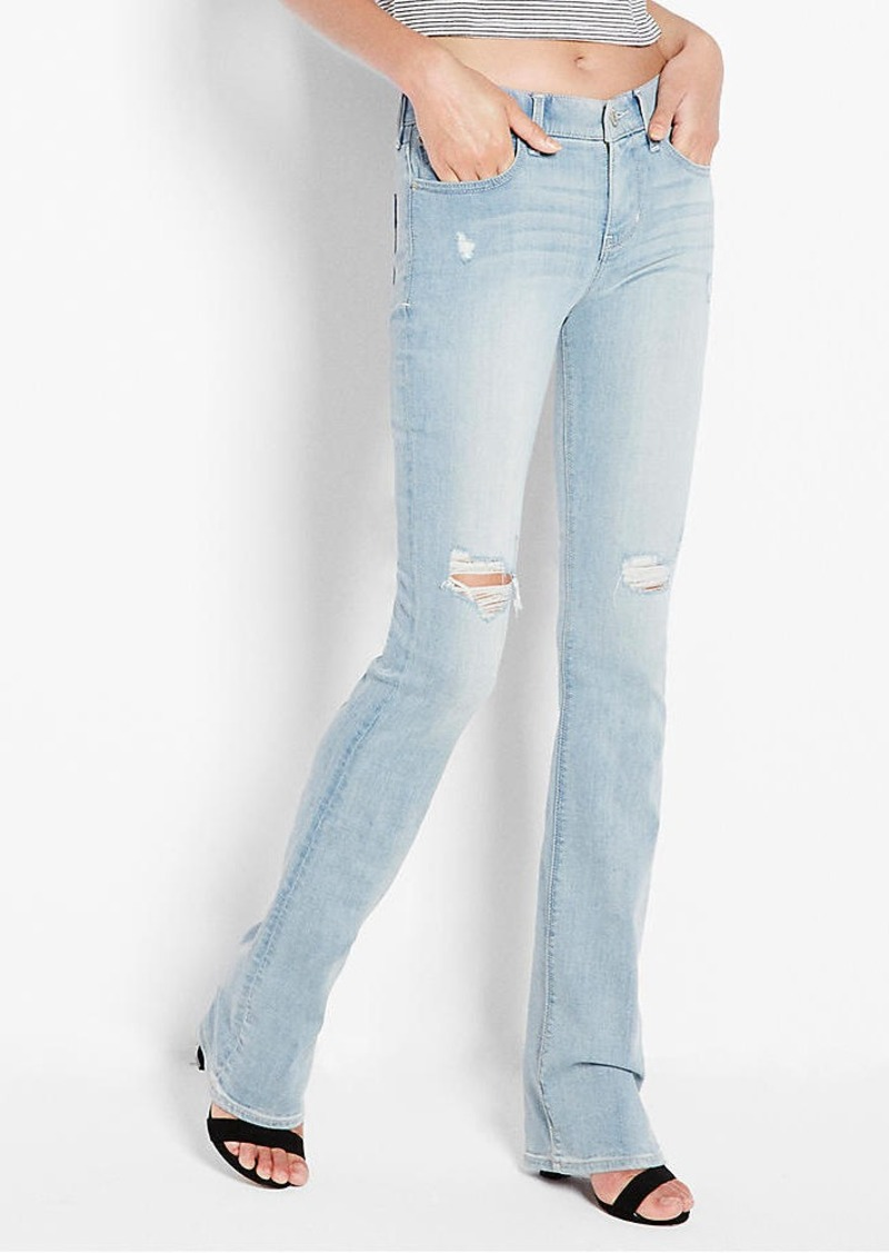 Express Mid Rise Distressed Barely Boot Jean