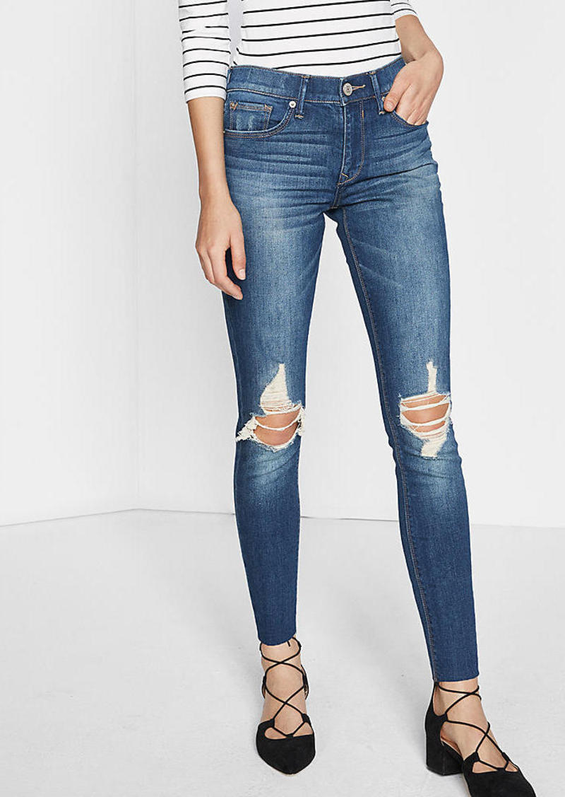 outlet sale many fashionable run shoes Mid Rise Distressed Knee Stretch Ankle Jean Legging