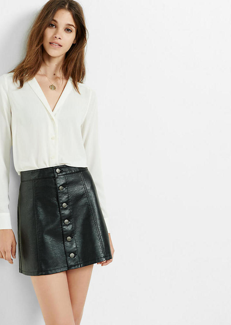 Express (Minus The) Leather Button Front A Line Skirt