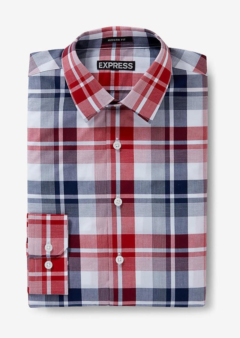Express modern fit plaid dress shirt dress shirts shop for Modern fit dress shirt