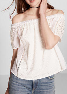 Off The Shoulder Eyelet Lace Blouse
