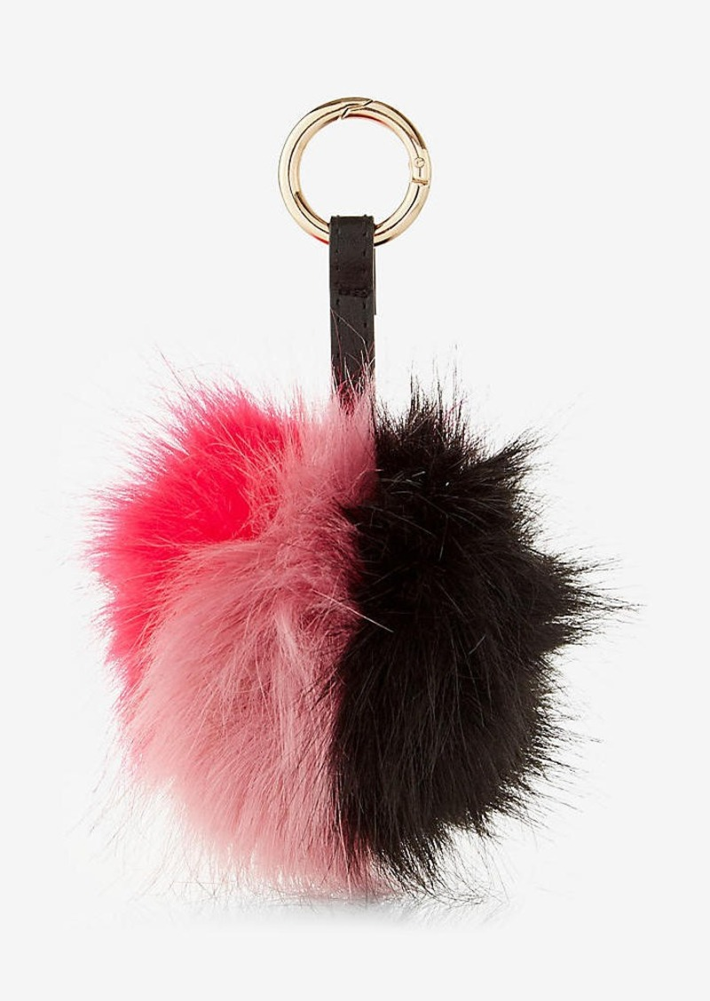 Express Ok Originals Faux Fur Color Blocked Pom Keychain And Bag Charm
