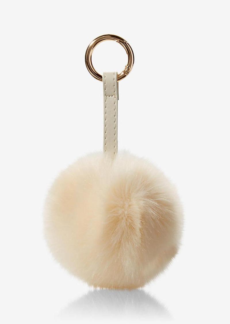 Express Ok Originals Ivory Faux Fur Pom Keychain And Bag Charm