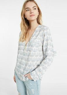 Peacock Print Long Sleeve Zip Front Blouse