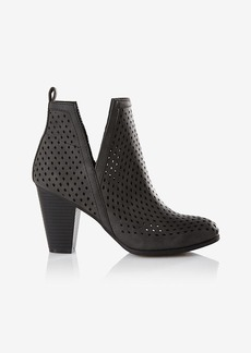 Express Perforated Side Slit Heeled Bootie