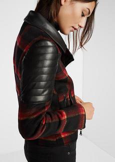 Plaid Wool Blend Moto Jacket