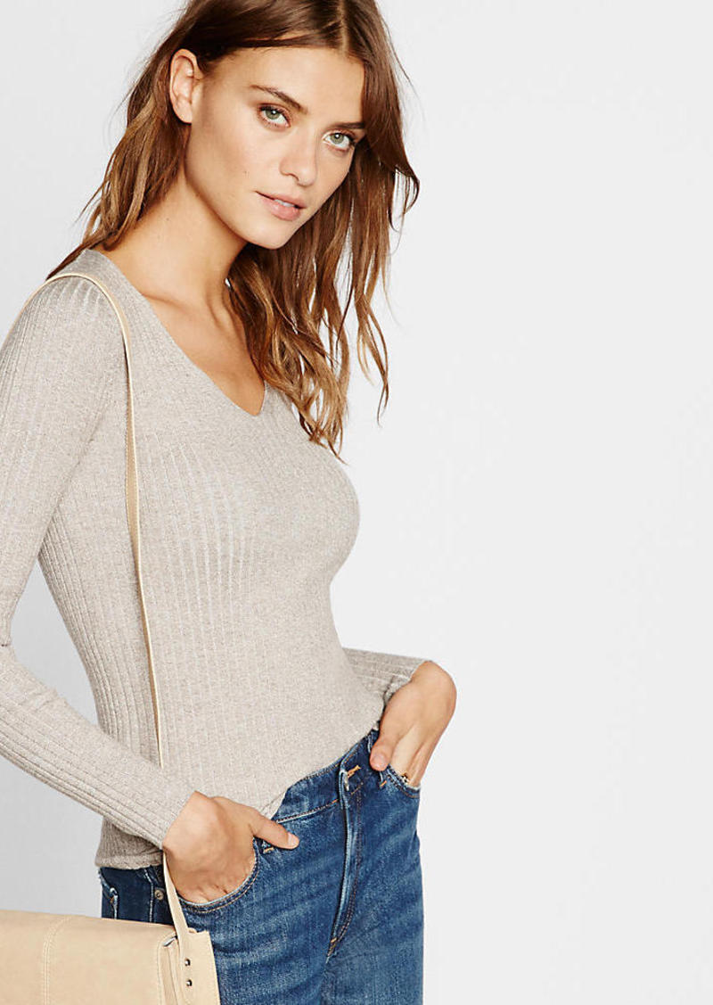 Express Plaited Marled Fitted V Neck Sweater