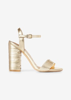 Express Pleated Metallic Heeled Sandal