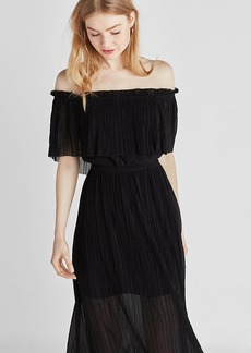Express Pleated Off The Shoulder Midi Dress