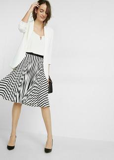 Pleated Stripe Midi Skirt