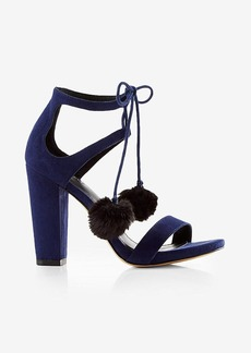Express Pom Tie Thick Heeled Sandal