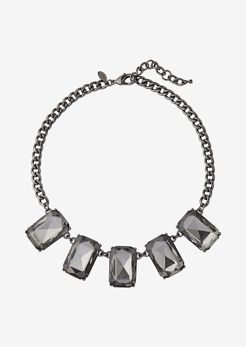 Express Rectangle Faceted Stone Collar Necklace