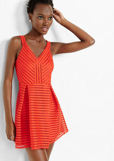 Red Mesh V Neck Pleated Fit And Flare Dress