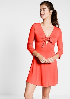 Red Tie Front Fit And Flare Dress