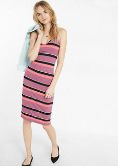 Ribbed Striped Sleeveless Sheath Dress