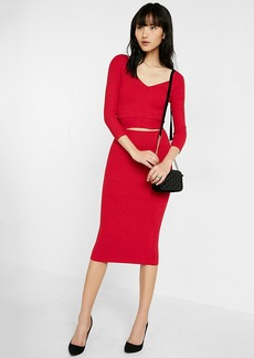 Ribbed Sweater Pencil Skirt