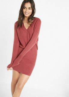 Ribbed V Neck Blouson Sweater Dress