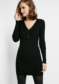Ribbed V Neck Sheath Dress