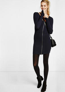 Ribbed Zip Front Sweater Dress