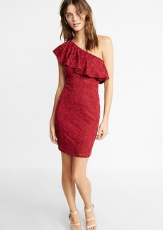 Ruffle Lace One Shoulder Dress