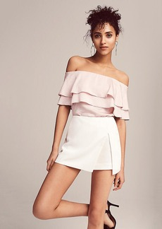 Satin Ruffle Off The Shoulder Blouse