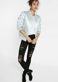 Shiny Silver Filled Bomber Jacket