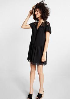 Short Sleeve Lace Yoke Tunic Dress