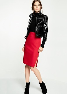 Side Zipper Midi Pencil Skirt