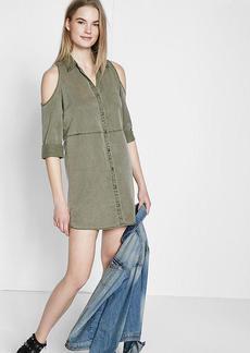 Silky Soft Twill Cold Shoulder Shirt Dress