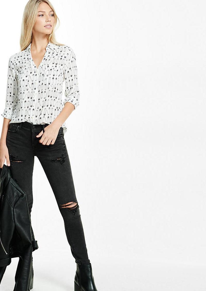Express Slim Fit Safety Pin Print Portofino Shirt