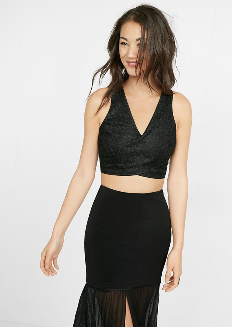 Express Sparkle Cut Out Cropped Top
