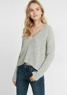 Express Split Back Strappy V Neck Pullover Sweater