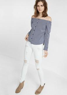 Striped Off The Shoulder Button Front Cotton Blouse