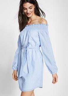 Striped Off The Shoulder Cotton Blend Shift Dress