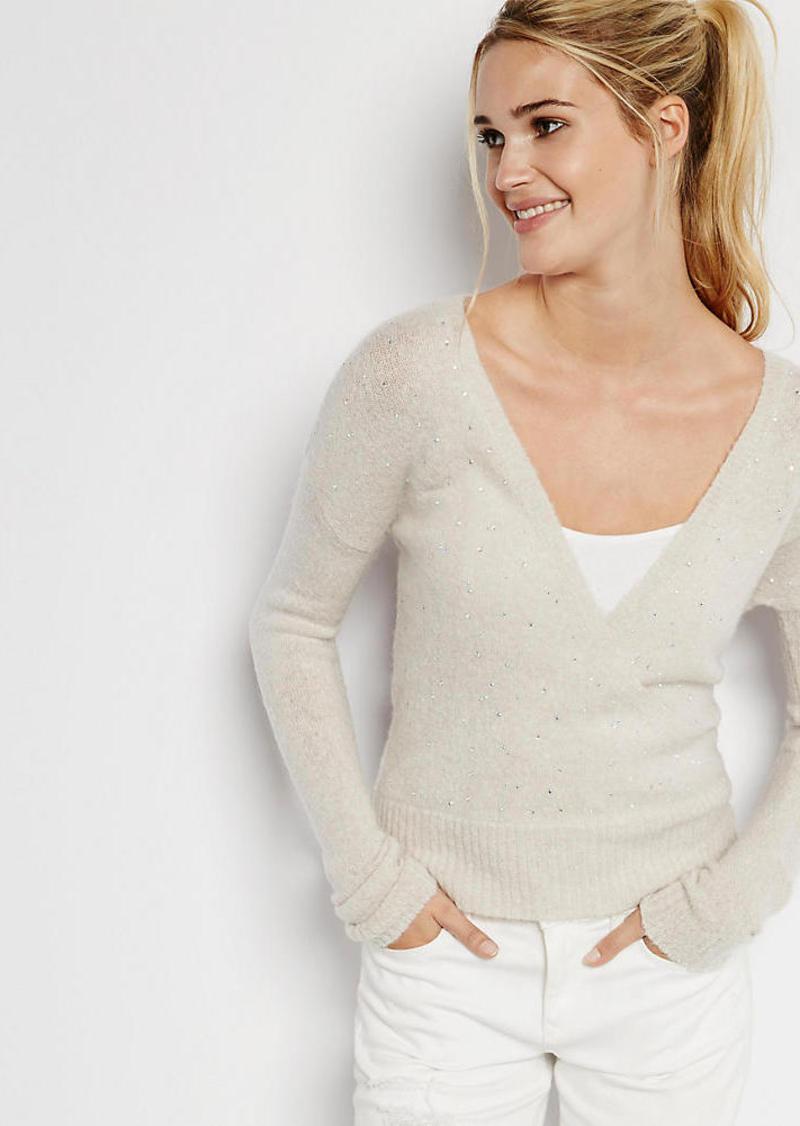 Express Studded Surplice Slub Knit Sweater
