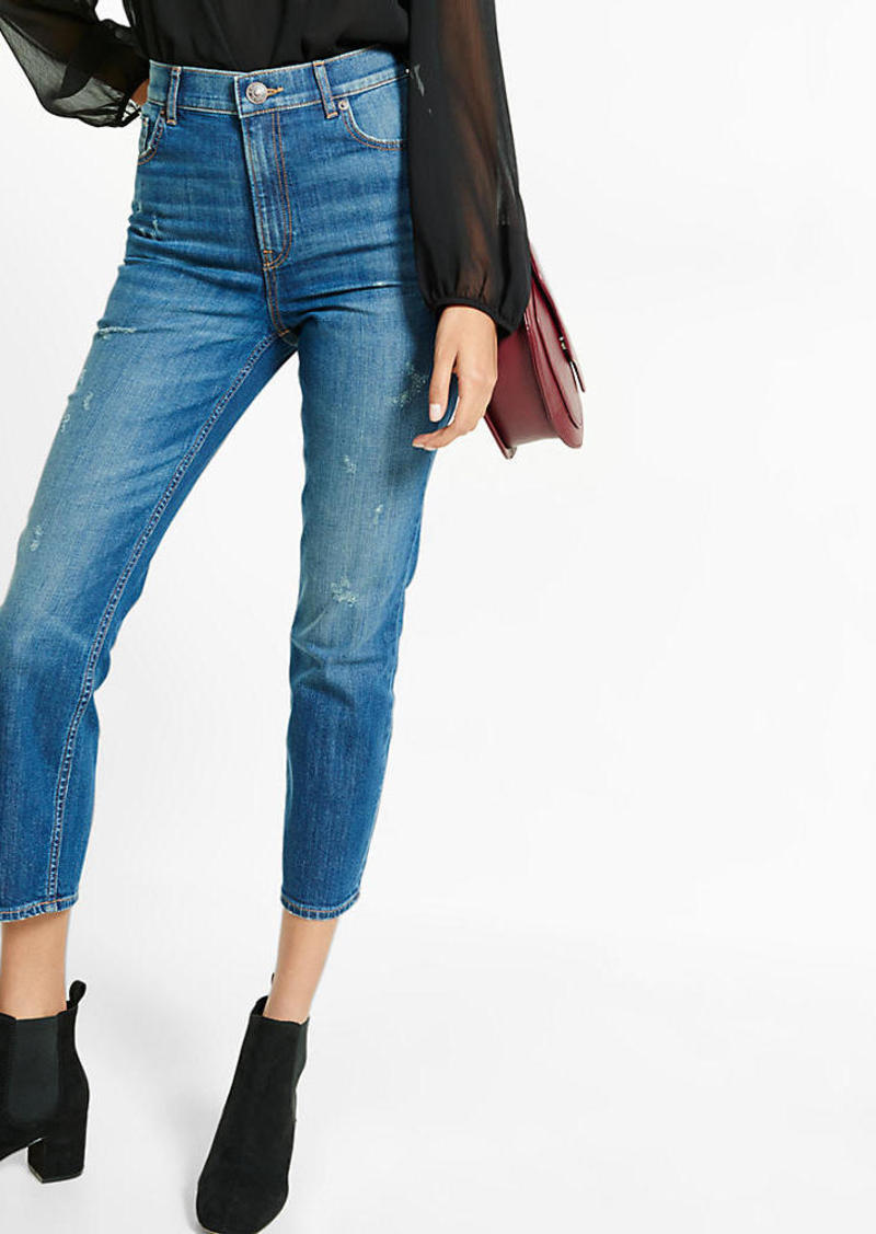 Express Super High Waisted Dark Wash Slim Ankle Jean