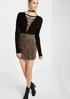 Super High Waisted Genuine Suede Mini Skirt