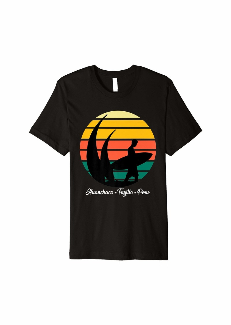 Express Surfing Vintage Huanchaco Beach Sunset Premium T-Shirt