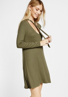 Tie Neck Trapeze Dress