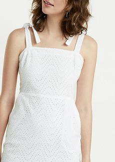 Tie Shoulder Eyelet Lace Sheath Dress