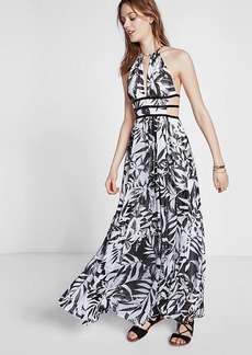 Tropical Print Strappy Cut Out Plunge Maxi Dress