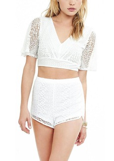 Express White Crochet High Waisted Dolphin Hem Shorts