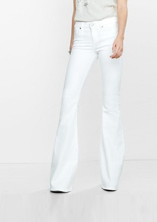Express White Mid Rise Bell Flare Jeans