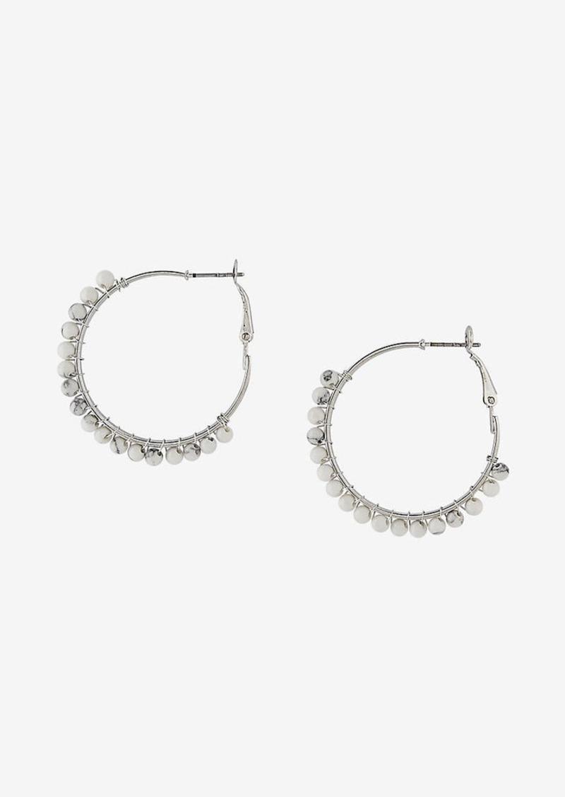 Express Wrapped Stone Hoop Earrings