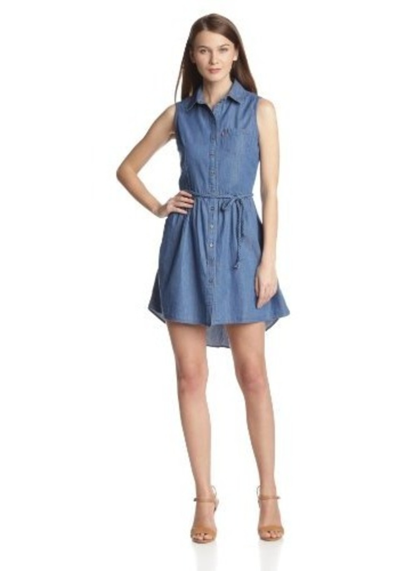 Levi's Women's Sleeveless Button Front Belted Dress Med Stone Wash