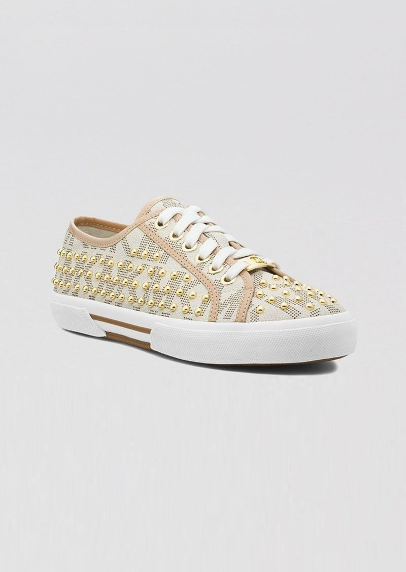 MICHAEL Michael Kors Lace Up Flat Sneakers - Boerum Mini Studded