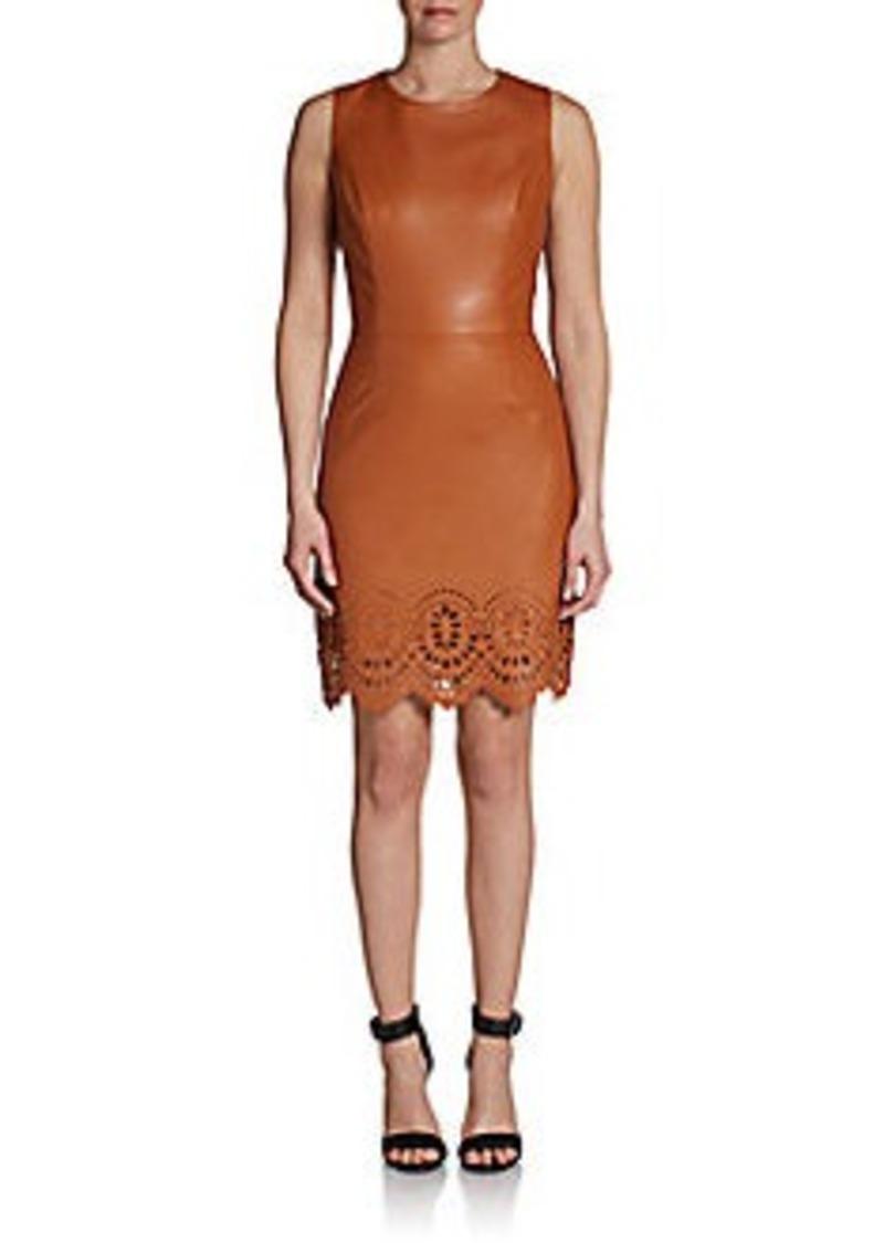 Cynthia Steffe Denni Laser-Cut Faux Leather Sheath Dress