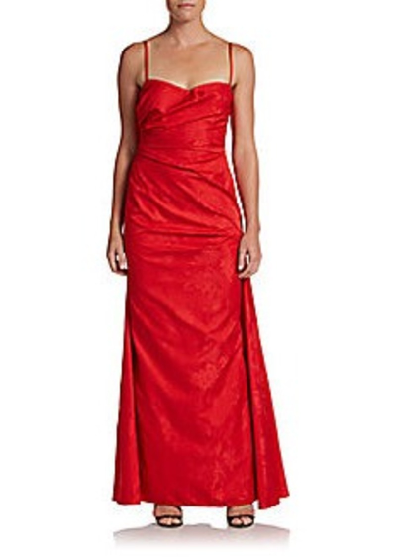 David Meister Draped Jacquard Gown