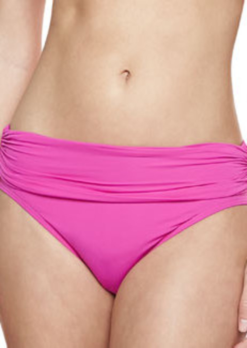 Carmen Marc Valvo Mediterranean Solids Ruched Swim Bottom, Fuchsia   Mediterranean Solids Ruched Swim Bottom, Fuchsia